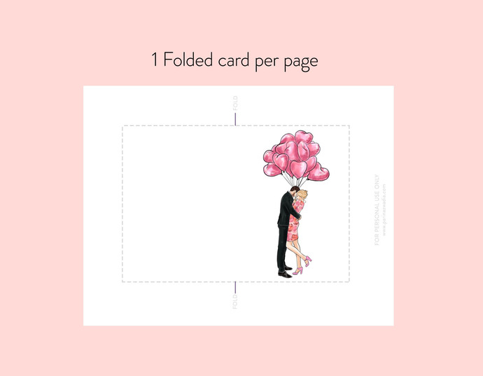 Couple with Heart Balloons - Light Skin note cards