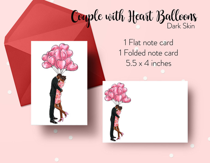 Couple with Heart Balloons - Dark Skin Note cards