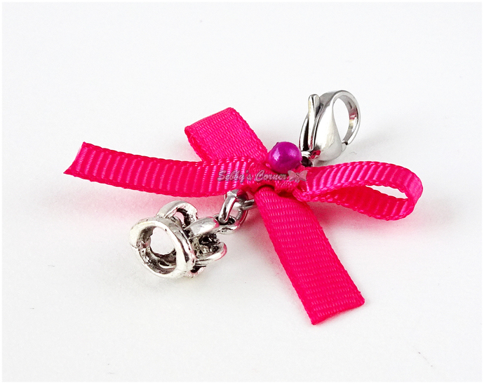 Pretty Queen Crown Charm with Pink Ribbon, Pet Accessories, Handbag Charms, Cat