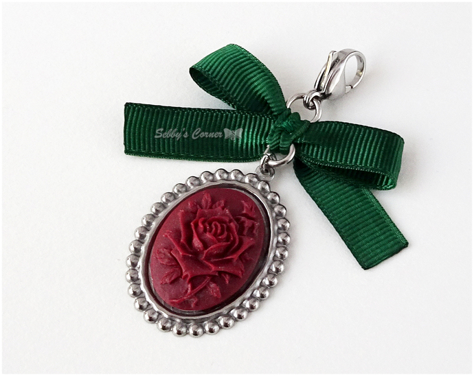 Oxblood Rose Cameo Charm with Forest Green Ribbon, Pet Jewelry, Cat Accessories,