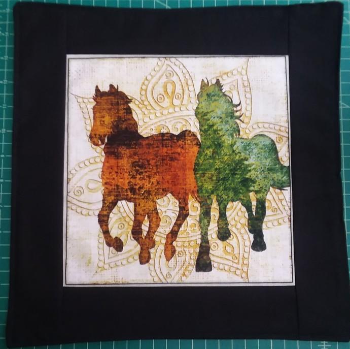 horses with mandla in back ground