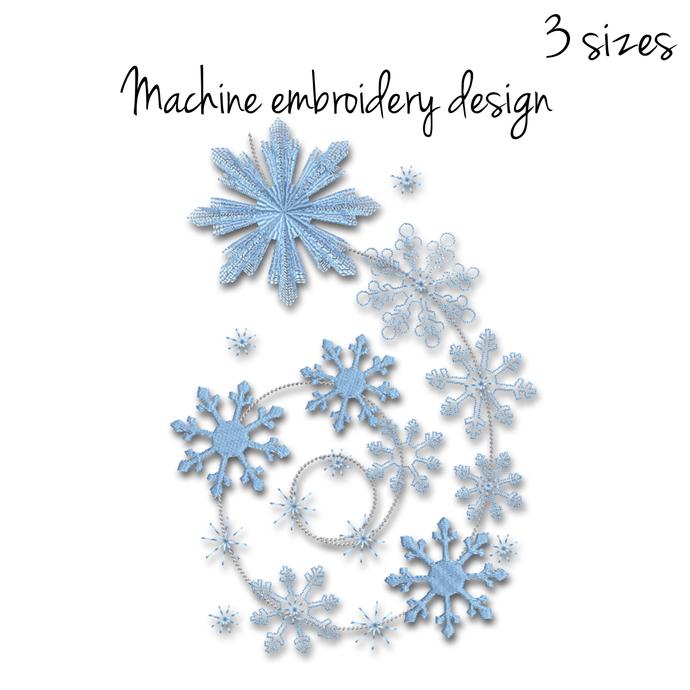 Snowflake embroidery machine designs winter digital instant download pattern