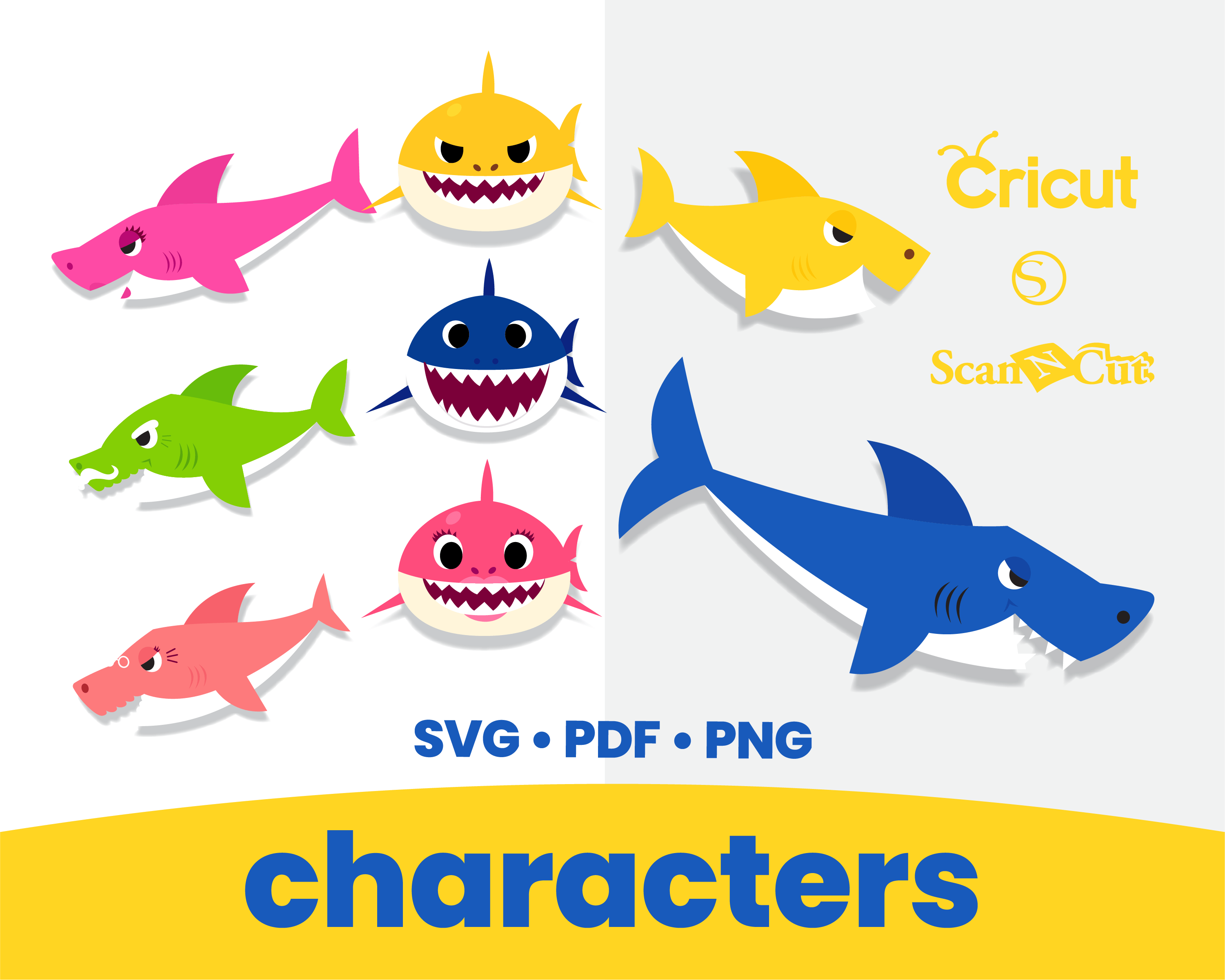 Baby Shark Printable Cut Files - SVG / PNG / by ...