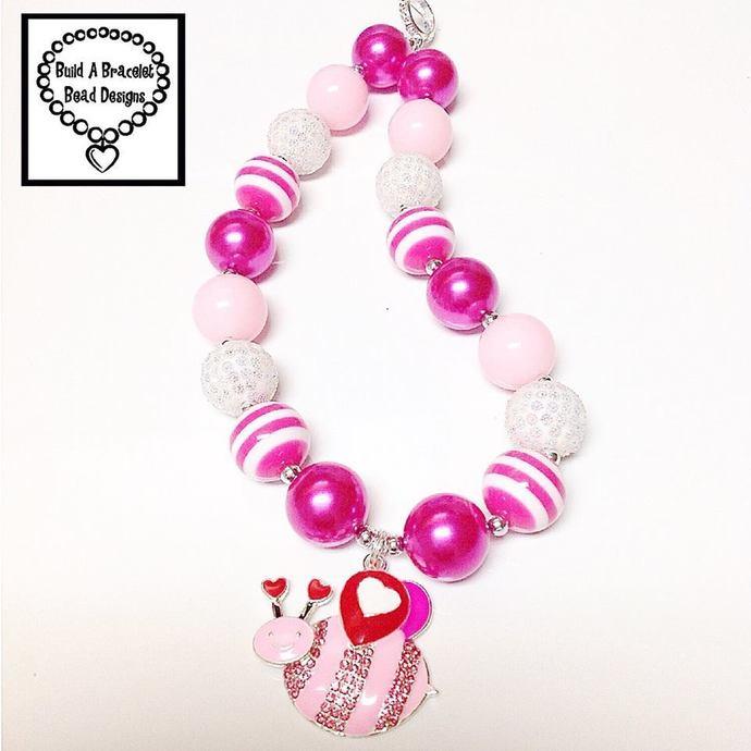 Toddler, Girls, Baby Bubblegum Chunky Bee My Valentine Necklace Jewelry