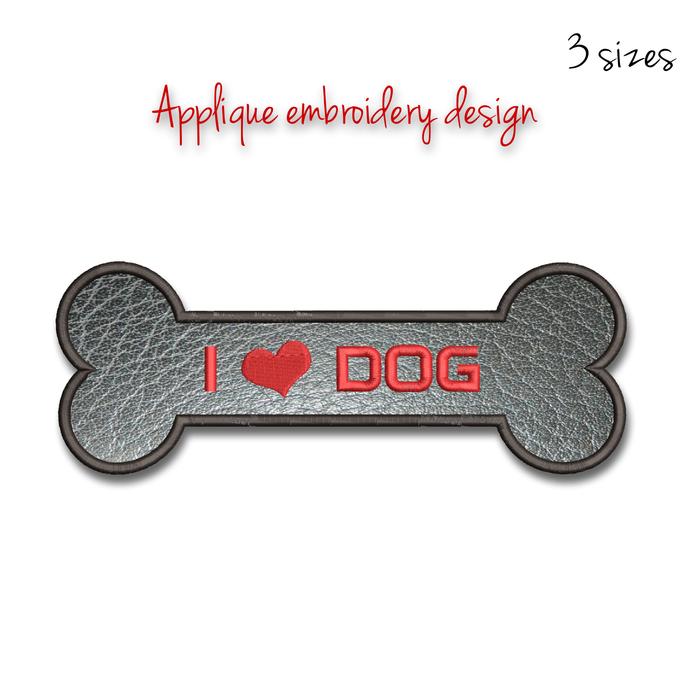 Embroidery machine designs I love dog applique pattern instant digital download