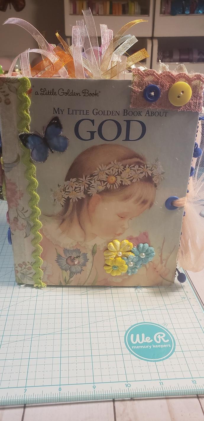 """Little Golden Book Junk Journal """"My Little Golden Book About God"""""""