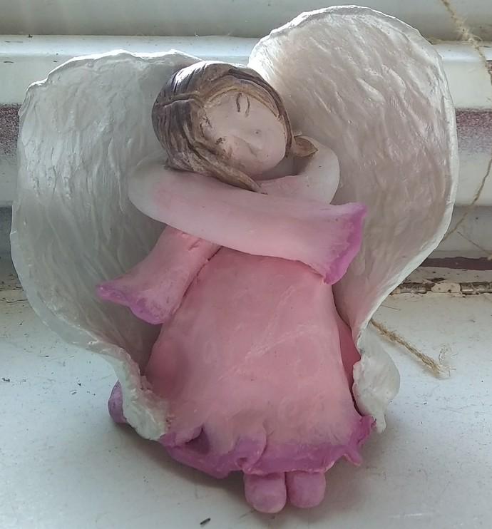 Serene Hand Sculpted Stoneware Angel