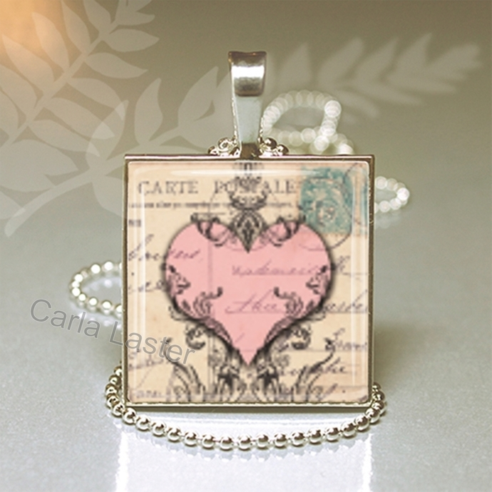 Pink heart on a background of French handwriting art pendant necklace made by