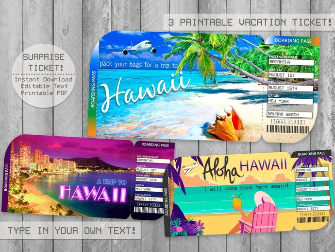 Printable Hawaii Trip Ticket, Boarding Pass Editable File, Boarding Pass,