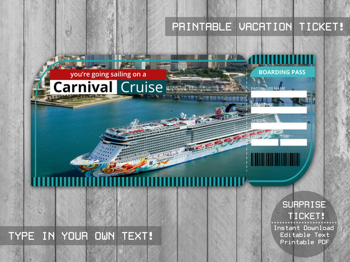 Printable Carnival Cruise Ticket, Boarding Pass Editable File, Boarding Pass,