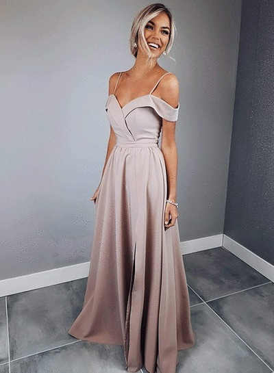 Charming A Line Prom Dress, Sexy Evening Dress, Spaghetti Straps Long Party
