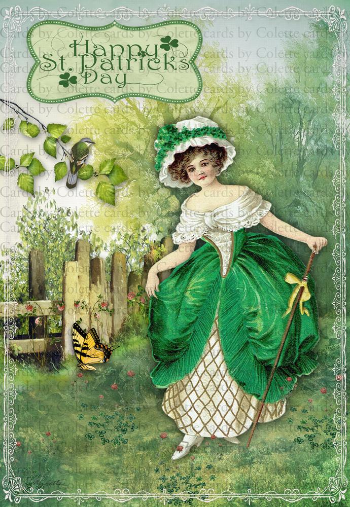 St Patrick Maiden Walking Down the Hillside Greeting Card2173