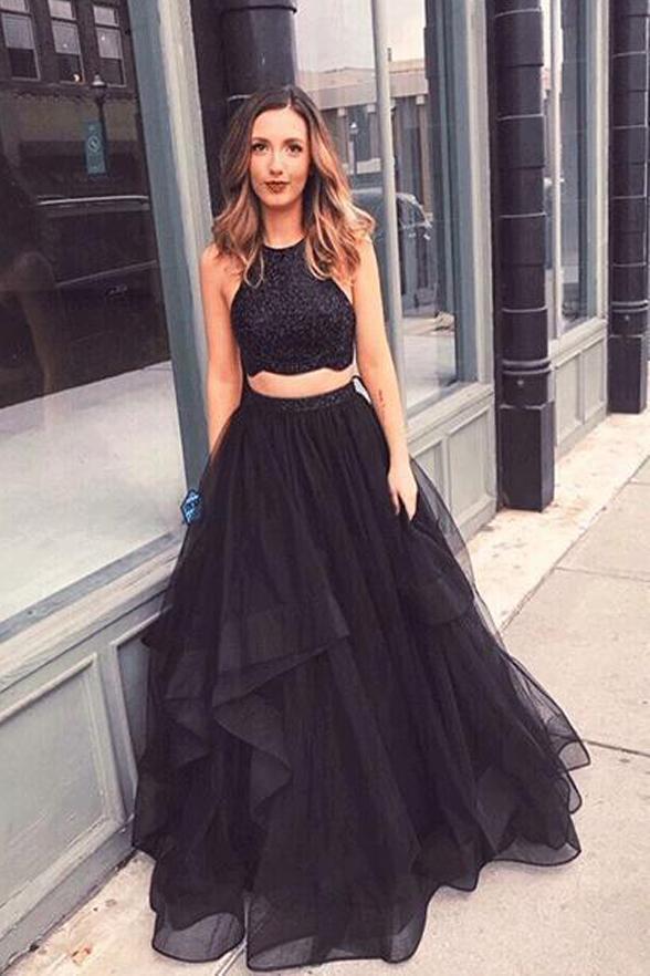 ea4d67eea9 Elegant Two Piece Tulle Lace Prom Dress