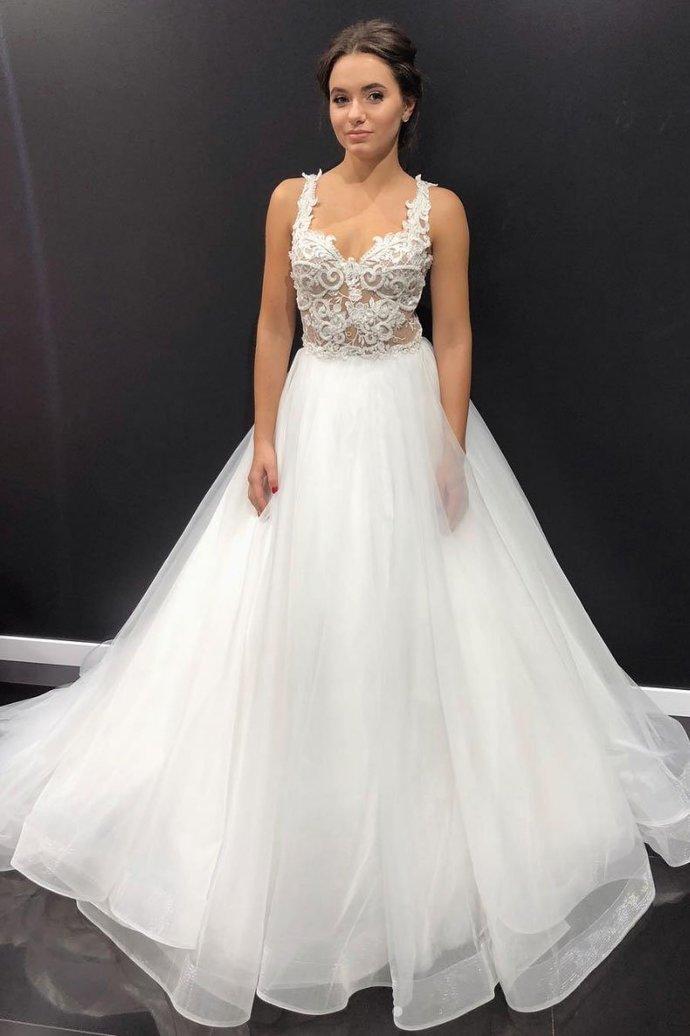 Elegant White Tulle Appliques Formal Wedding Dresses with Spaghetti Straps