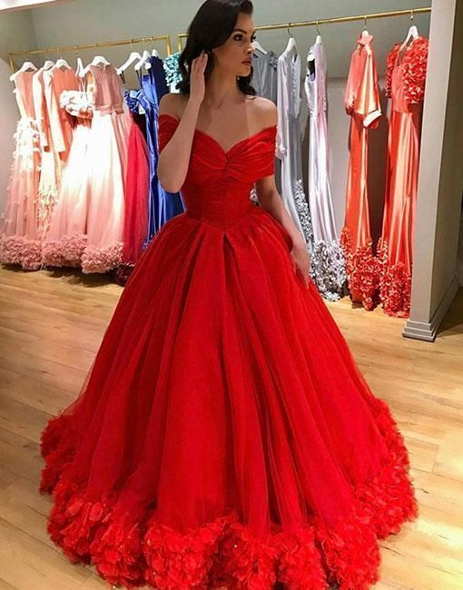 Custom Made Tulle Red Off the Shoulde Long Prom Dress Formal Evening Gowns