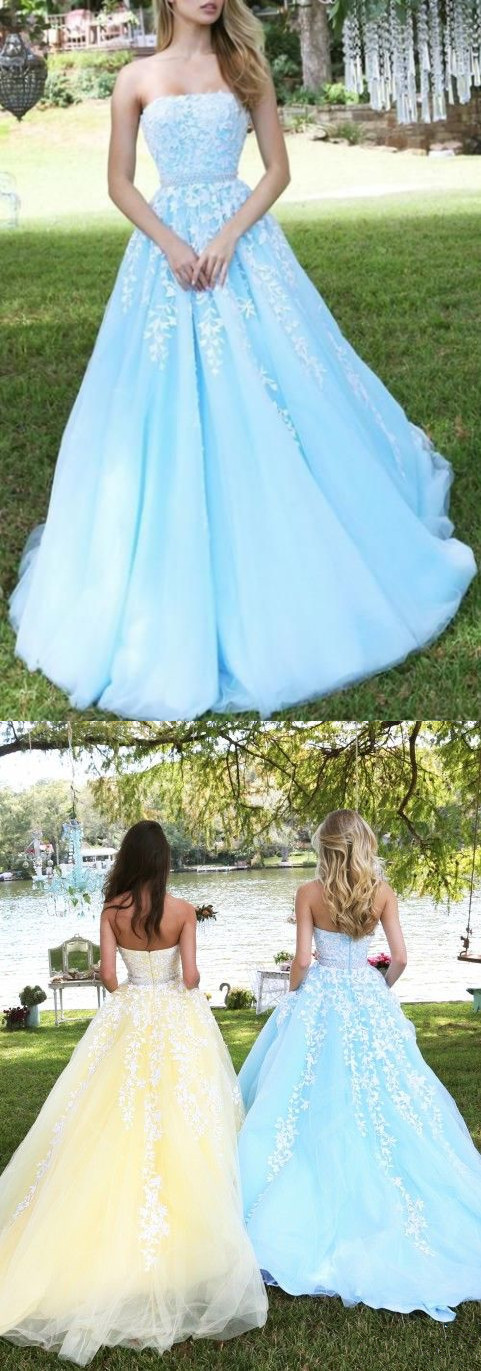 Princess Sky Blue Strapless A-line Tulle Floor-length Prom Dress with White