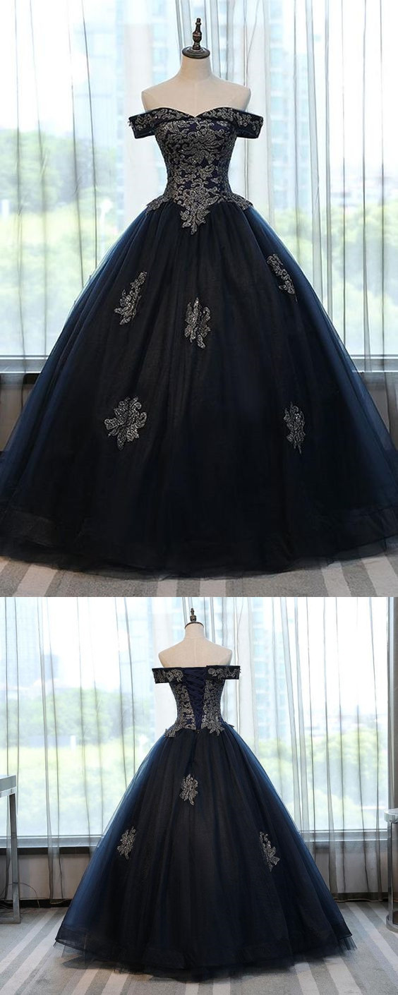 NAVY BLUE OFF THE SHOULDER LACE APPLIQUES BALL GOWN PROM DRESSES EVENING