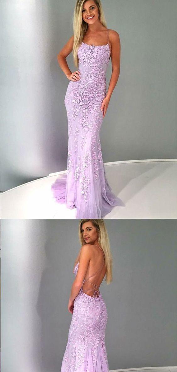 Mermaid Spaghetti Straps Lilac Tulle Prom Dresses,Cheap Prom Dresses