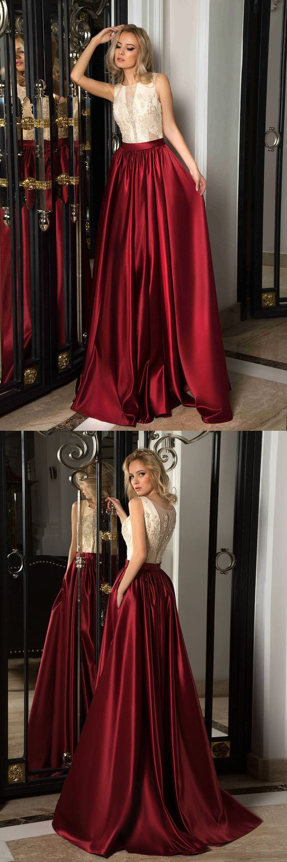 A-Line Lace Sleeveless Scoop Long Satin Prom Dress With Illusion Back And