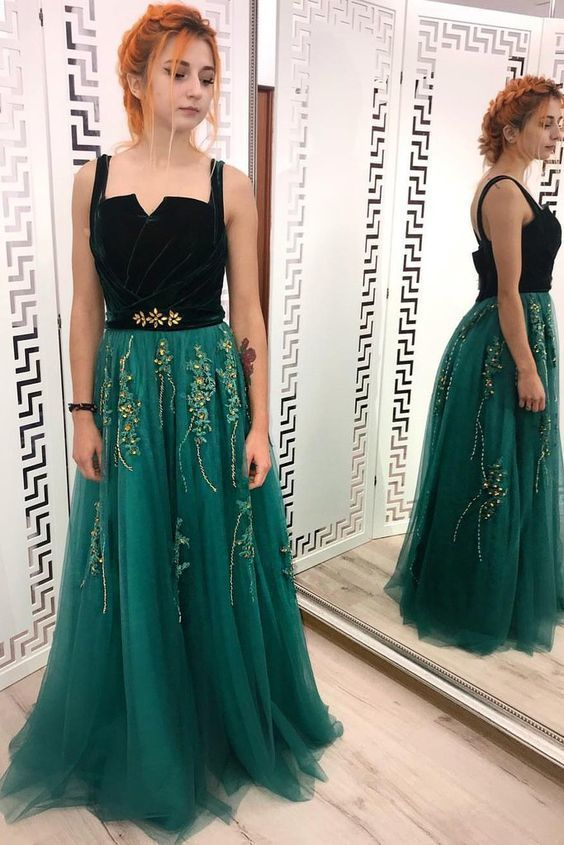 cba33529fc29 Custom Made Charming A Line Green and Black Tulle Prom Dresses, Charming