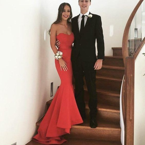 Classic Sweetheart Red Prom Dresses Mermaid Evening Gown for Women ,Long Formal