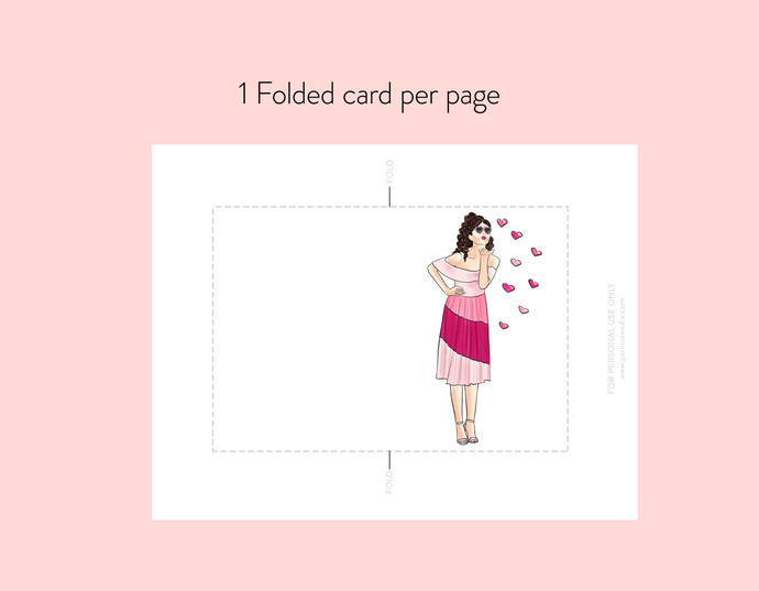 Girl kissing hearts - Light skin Note cards, Printable cards, Valentine cards