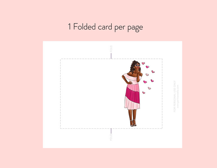 Girl kissing hearts - Dark skin note cards