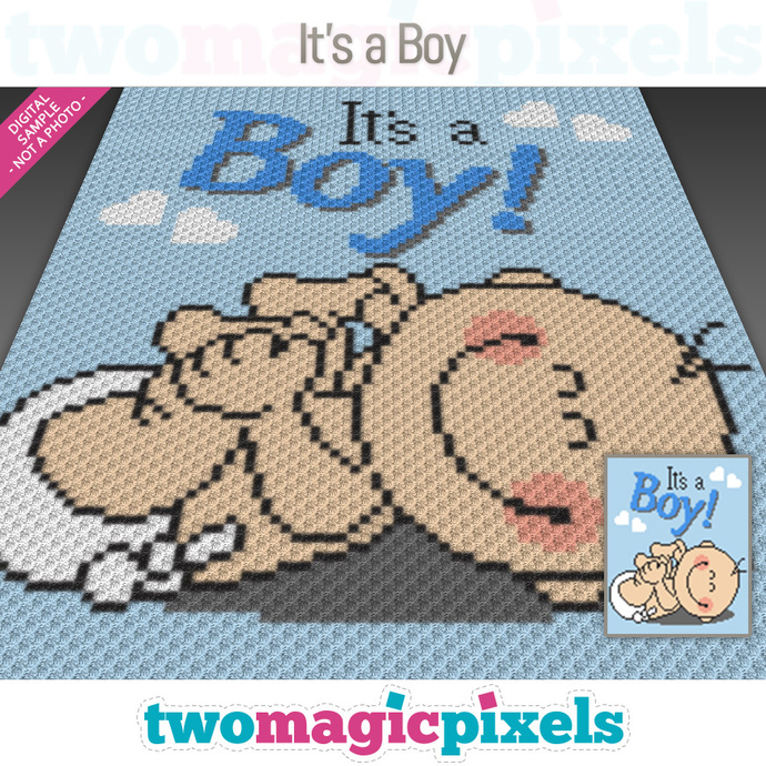 It's a Boy! crochet graph (C2C, Mini C2C, SC, HDC, DC, TSS), cross stitch