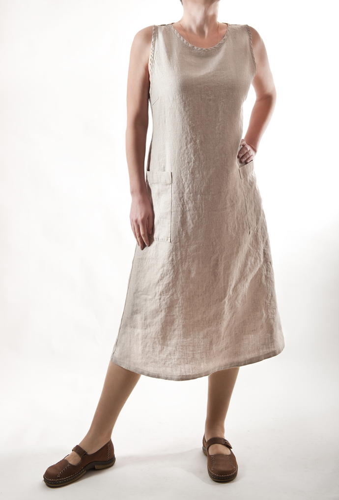Linen Dress, Womens Loose Linen Dress, Womens Linen Clothing, Natural color.