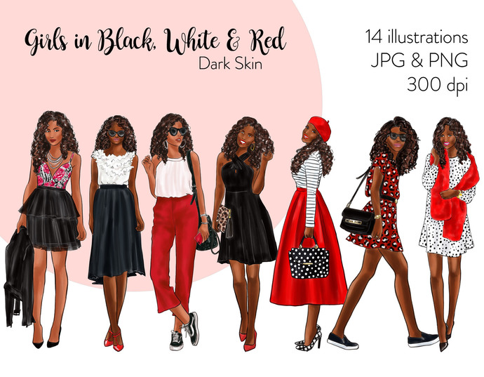 Watercolor fashion illustration clipart - Girls in Black, White & Red - Dark