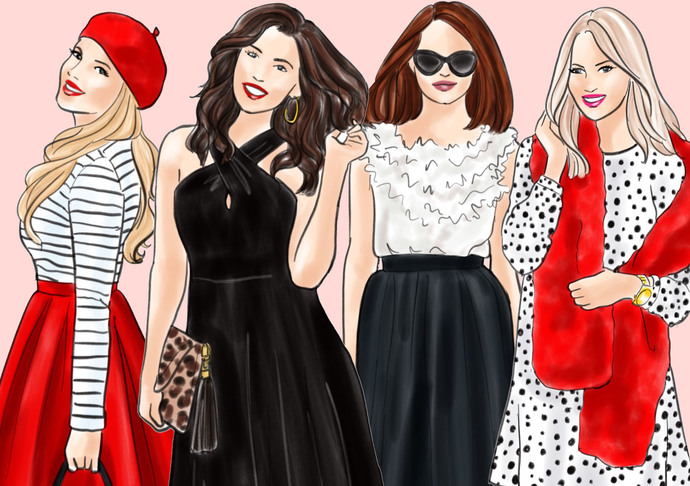 Watercolor fashion illustration clipart - Girls in Black, White & Red - Light