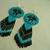 Native American Style Rosette Beaded Inuksuk earrings in Azure and Cerulean
