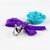 Blue Rose Charm with Purple Ribbon, Zipper Pulls, Pet Collar Charms, Spring
