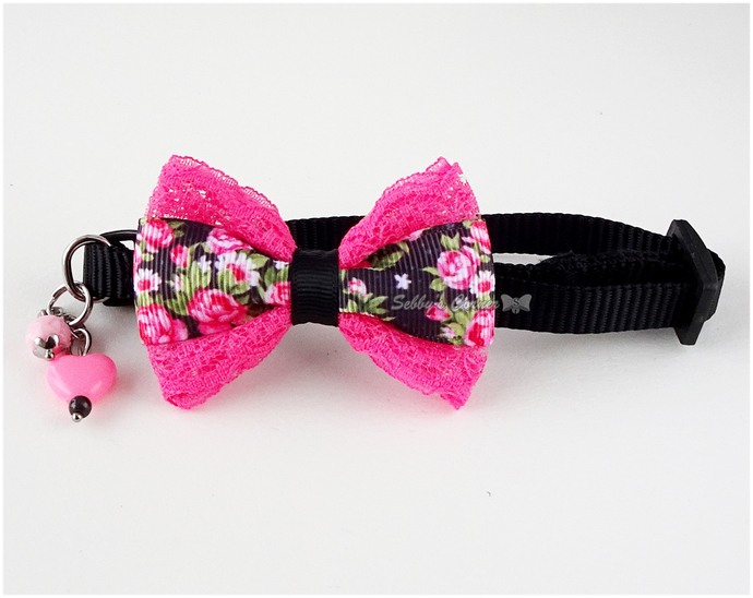 Beauty Queen Floral Cat Collar with Bow Tie, Black, Pink, Kawaii, Adjustable,