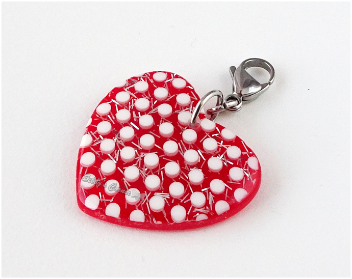 Polka Dot Red Heart Charm, Valentines Day, Pet Accessories, Cat Collar Charm,