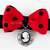 Red and Black Bow Tie with Cameo Charm, Cat Accessories, Pet Fashion, Photo