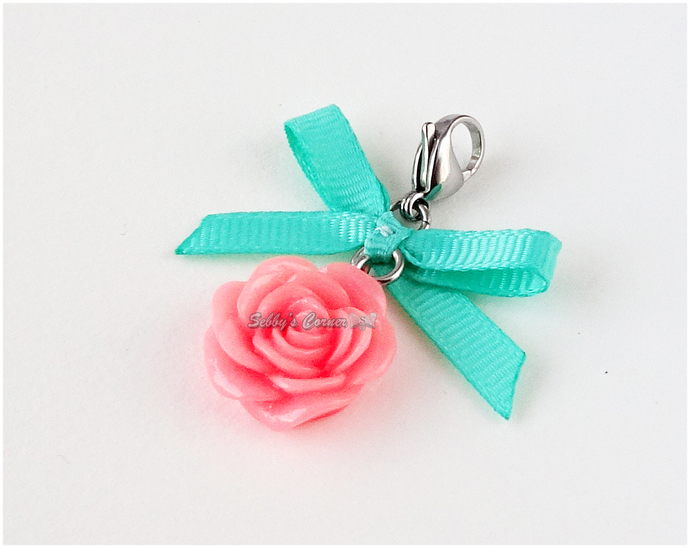 Peach Pink Rose Charm with Mint Green Ribbon, Spring, Flowers, Pet Accessories,
