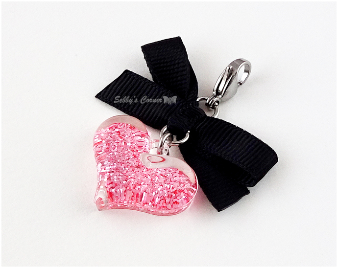 Pink Glitter Heart Pet Collar Charm, Cat Accessories, Photo Props, Valentines