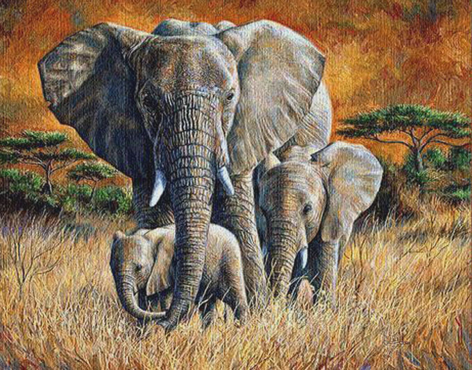 Tropical Jungle Elephant Cross Stitch Pattern***LOOK***