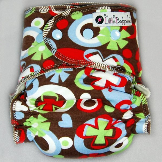 Mod Brown Lime Blue Butterfly - Cloth Diaper or Cover - You Pick Size and Style