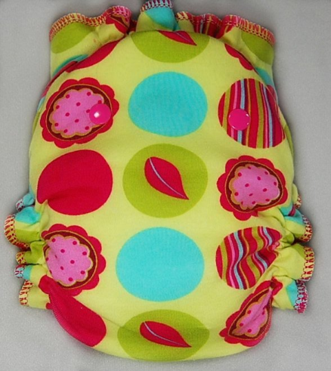 Citron Mod Dots Floral - Cloth Diaper or Cover - You Pick Size and Style - Made
