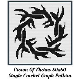 Crown of Thorns Crochet Graph Pattern 80x80