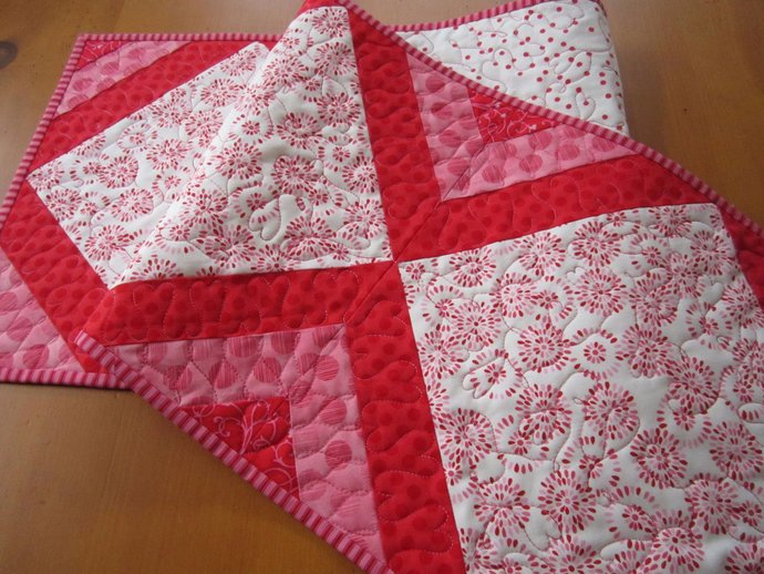 Quilted Table Runner Pink Red Handmade Runner Handmade Gifts Runner Home Decor