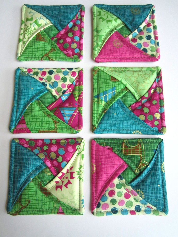 Coasters Set of 6 Modern Christmas Quilted Fabric Coasters