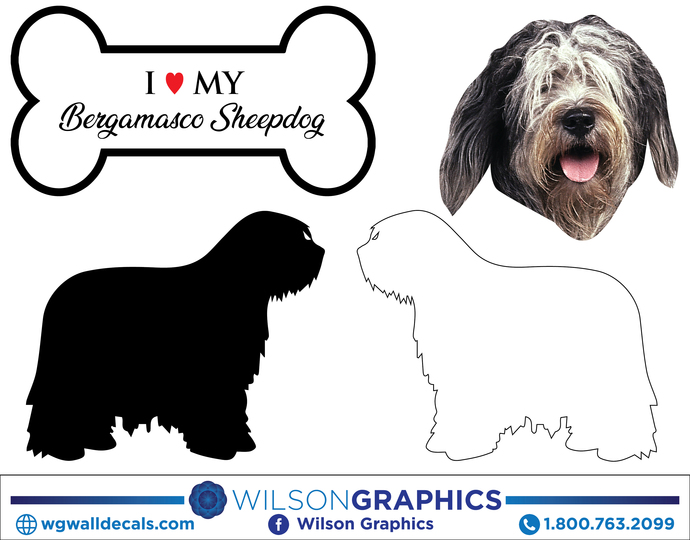 Bergamasco Sheepdog - Dog Breed Decals (Set of 16) - Sizes in Description