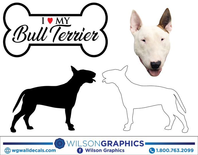 Bull Terrier - Dog Breed Decals (Set of 16) - Sizes in Description