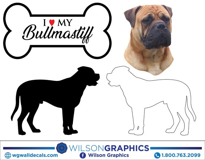 Bullmastiff - Dog Breed Decals (Set of 16) - Sizes in Description