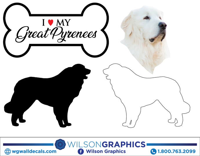 Great Pyrenees - Dog Breed Decals (Set of 16) - Sizes in Description