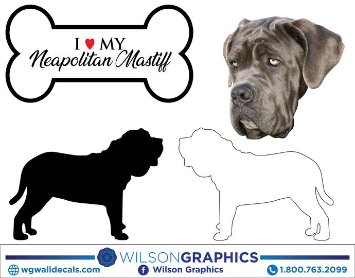 Neapolitan Mastiff - Dog Breed Decals (Set of 16) - Sizes in Description