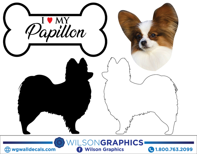 Papillon - Dog Breed Decals (Set of 16) - Sizes in Description